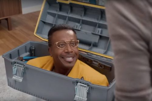 MC Hammer in a toolbox for an advert proving he will make use of his name for monetary gain